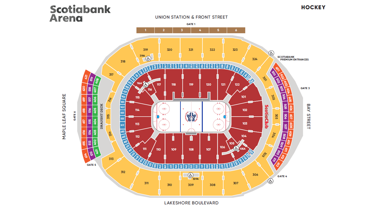 Restaurants Near Air Canada Centre Map 3D Seating / Maps | Scotiabank Arena